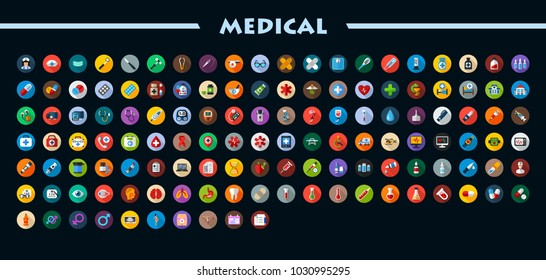 Medical flat icons set with long shadow. Health care vector illustration