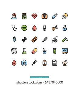 Medical Flat Line Icon Set Vector Illustration Logo Template For Website Or Mobile App.
