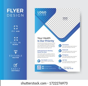 Medical flyer template, Modern company leaflet design, Creative abstract shapes design