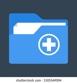 Medical folder icon. Health history, file with medical documentation. Isolated flat vector illustration