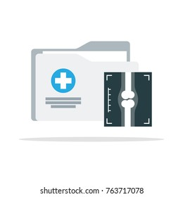 Medical folder icon. medical report. Vector illustration in flat style