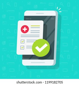 Medical form list with results data and approved check mark notice on mobile phone vector, flat clinical checklist document with checkbox on smartphone, electronic online insurance, medicine service