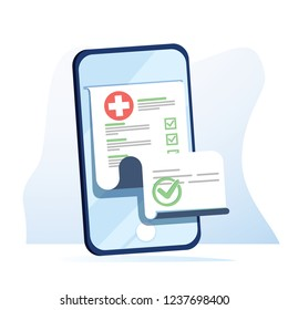 Medical form list with results data and approved check mark on mobile phone vector, flat cartoon clinical checklist document with checkbox on smartphone, electronic online insurance, medicine service