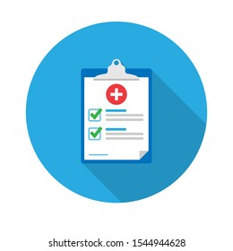 Medical form, medical report. Clipboard with a cross, check marks. Informed consent, prescription, application form, health insurance, flat icon.Vector illustration.