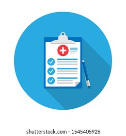 Medical form, medical report. Clipboard with a cross, pen and check marks. Informed consent, prescription, application form, health insurance, flat icon.Vector illustration.