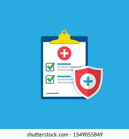 Medical form, medical report. Clipboard with a cross, checkmarks. Shield with a cross. Informed consent, prescription, application, medical insurance.Vector illustration.10 eps.
