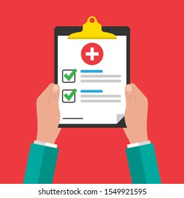 Medical form, medical report in the hands of a doctor. Clipboard with a cross, check marks. Informed consent, prescription, application, health insurance, flat icon. Vector illustration.10 eps.