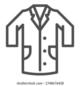 Medical gown line icon, clothes concept, laboratory uniform sign on white background, hospital staff and doctors costume icon in outline style for mobile concept web design. Vector graphics
