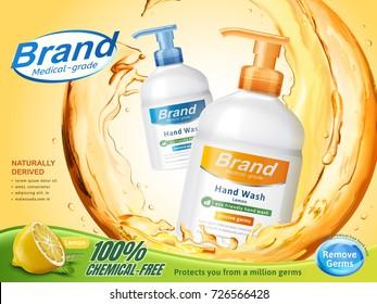 Medical grade hand wash ads, flowing clear liquid splashing around the dispenser bottle in 3d illustration, lemon perfume