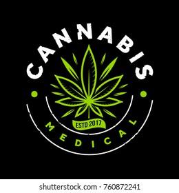 medical green cannabis emblem logo template