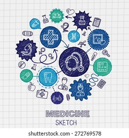 Medical hand drawing connected icons. Vector doodle interactive pictogram set. Sketch concept illustration on paper: Healthcare, health, care, medicine, pharmacy, social. Abstract infograph background