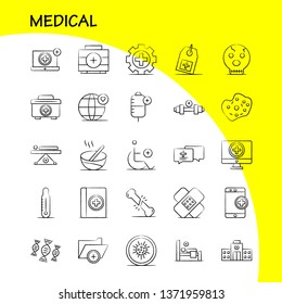 Medical Hand Drawn Icons Set For Infographics, Mobile UX/UI Kit And Print Design. Include: Dna, Test, Medical, Lab, Medical, Building, Hospital, Plus, Eps 10 - Vector