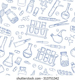 Medical hand drawn seamless vector pattern. Equipment and medicaments . Vector vintage hand drawing icons. Linear illustration. Chemical  background. Pharmaceutics. Health care.