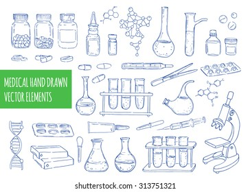 Medical hand drawn vector elements. Set of equipment and medicaments . Vector vintage hand drawing icons. Linear illustration. Chemical  background. Pharmaceutics. Health care.