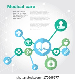 Medical health care background with flat icon set with place for text. Vector illustration