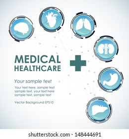 Medical health care background. Glass technological button icons with human organs. Modern computer interface