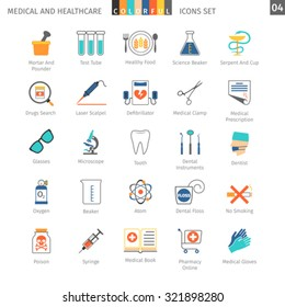 Medical and Health Care Colorful Icons Set 04