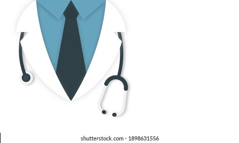 Medical and health care concept background. Doctor in lab coat with stethoscope on white background, space for text. Vector