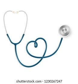 Medical and Health care concept, doctor's stethoscope isolated on white background. EPS 10