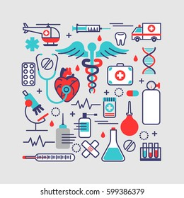 Medical, health care concept in modern flat line design. Vector illustration with a lot of medicine objects. Can used for web banners and info graphics
