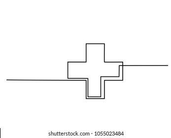 Medical health care cross. Continuous line drawing. Vector illustration