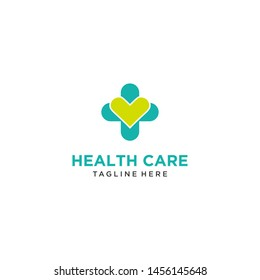 Medical and Health care with Cross and heart Logo Vector Template