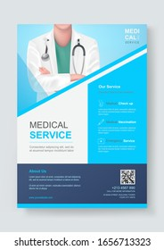 Medical health care flyer or cover template design for and  brochure, annual report, leaflets for printing and presentation. Doctor vector illustration