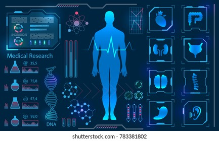 Medical Health Care Human Virtual Body Hi Tech Diagnostic Panel, Medicine Research - Illustration Vector