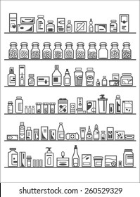 Medical and Health Care Icons, pharmacy shelves