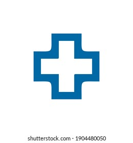 Medical and health care logo design with cross icon vector template