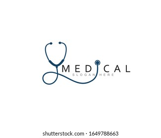 medical health care logo icon with stethoscope, vector