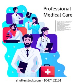 Medical health care professionals colorful abstract composition poster with male and female physicians doctors radiologists vector illustration