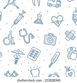 Medical and health care seamless vector drawn pattern