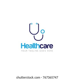 medical health care with stethoscope logo, icon, symbol design template