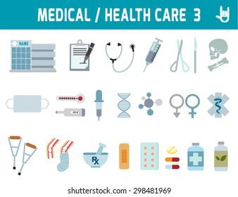 Medical & Health Care, vector flat icons design, health concept, elements design for flyer and website, magazine, banner,illustration
