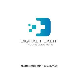 Medical Health Digital Logo Design Vector