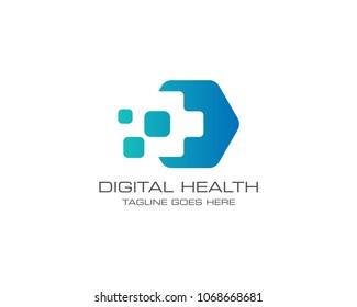 Medical Health Digital Logo Design Vector Template. Hexagon Shape.
