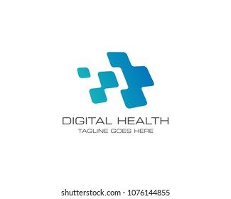 Medical Health Digital Logo Design Vector Template