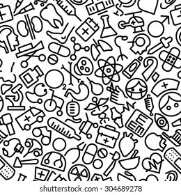 Medical and Health Hand Drawn Icon Pattern Illustration