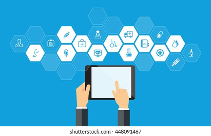 Medical and health icon and tablet device concept,hand hold mobile