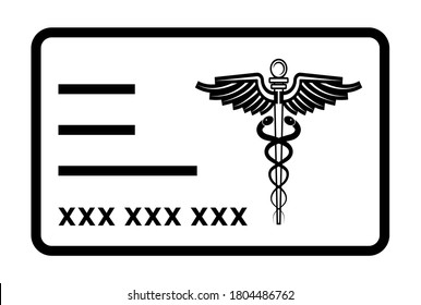 Medical health insurance card line art icon for apps or website
