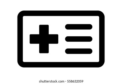 Medical health insurance card line art vector icon for apps and websites