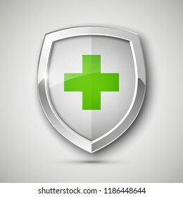 Medical health protection shield cross. Protected steel guard shield concept. Safety badge steel icon. Privacy metal banner shield. Security safeguard metal label. Presentation chrome sticker shape