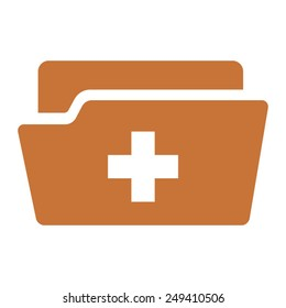 Medical health record folder flat icon for healthcare apps and websites
