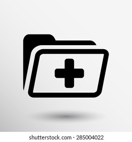 Medical health record folder flat icon for healthcare.