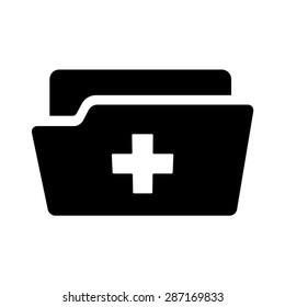 Medical or health record folder flat vector icon for app and website