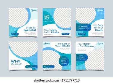 Medical health square banner for social media post template