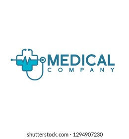 Medical health vector health logo with cross and stethoscope icon symbol. This logo is suitable for hospital and clinic.