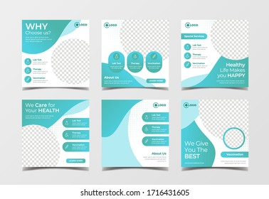 Medical healthcare banner for social media post template