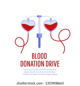 Medical and healthcare concept.  Donate blood bag. Blood donation drive banner.
